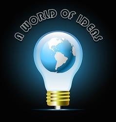 Globe in glowing blue light bulb Bulb light idea vector