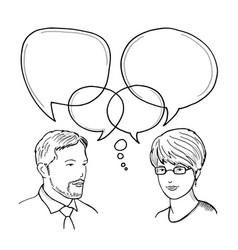 Hand drawn dialog between man and vector