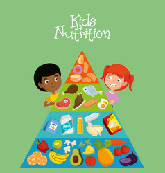 happy kids with nutrition food vector image