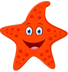 happy starfish cartoon vector image
