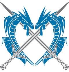 Heart dragons vector