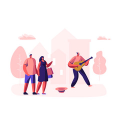 hipster musician performing outdoor show vector image