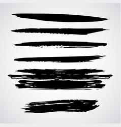 Horizontal ink brush stroke stripes vector
