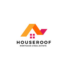 house home roof mortgage real estate ribbon logo vector image