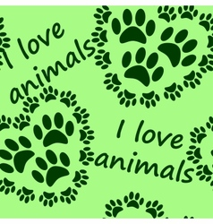 I love animals seamless pattern vector image
