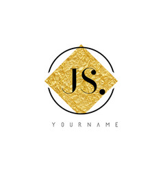 Js letter logo with golden foil texture vector