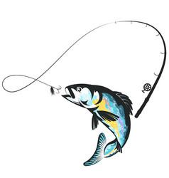Jumping fish and fishing rod design vector