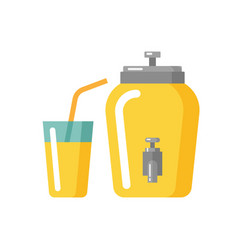 lemonade jar and glass flat icon vector image