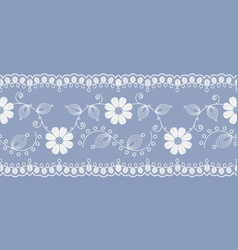 light floral lace white on a blue background vector image