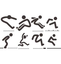 Long jump icons vector