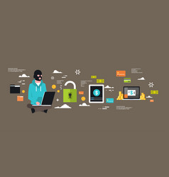 Man black mask sitting at computer hacker activity vector