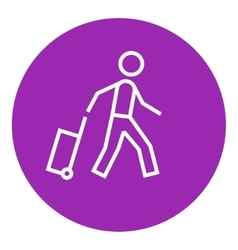 Man with suitcase line icon vector