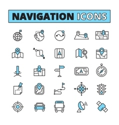 Map navigation outlined icons set vector image