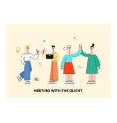 men women waving hand to colleagues set vector image