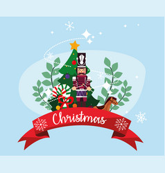 Merry christmas nutcracker and pine tree vector