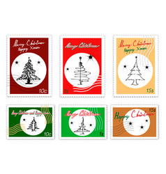 Merry xmas post stamps set of hand drawn sketch vector