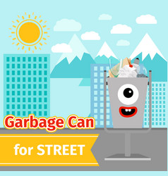 monster face garbage can with street trash vector image