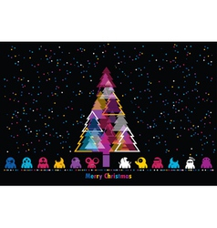 Monsters and New year tree vector image