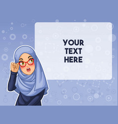 Muslim woman shocked with holding her glasses vector