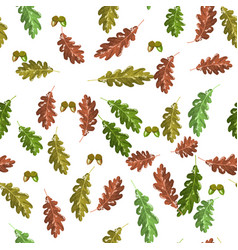 oak accorn and autumn leaf seamless pattern autumn vector image