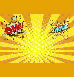 Omg wow yellow orange rays pop art background vector