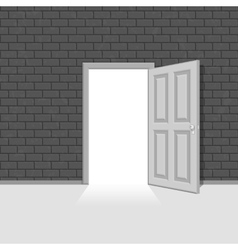 Open door in vintage brick wall vector