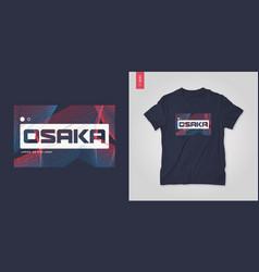 osaka japan abstract geometric t-shirt vector image