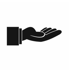 Outstretched hand gesture icon simple style vector