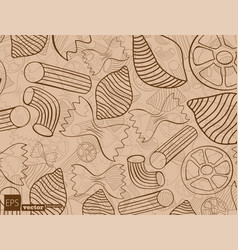 Pasta shapes seamless pattern vector