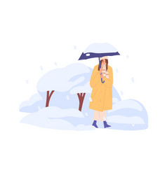 Person walking under umbrella in snowfall in cold vector