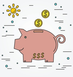 Piggy bank think line icon vector