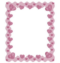 Pink zig zag frame border with red pink hearts and vector