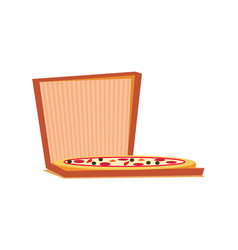 pizza with meat cheese and tomatoes in box vector image