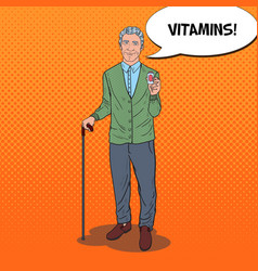 pop art senior man with vitamins health care vector image