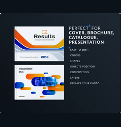 presentation abstract blue orange set of vector image