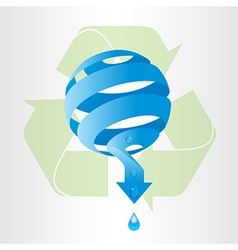 Recycle arrows and abstract blue sphere with water vector