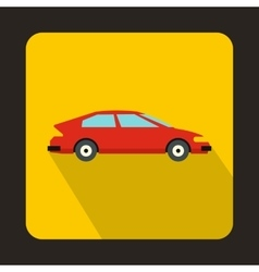 Red car icon in flat style vector