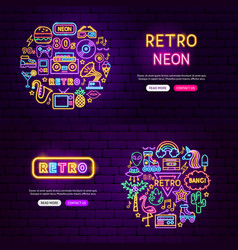 retro website banners vector image