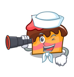 Sailor with binocular sponge cake mascot cartoon vector