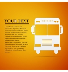 School Bus flat icon on orange background vector image