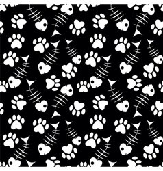 seamless cats paw and fish pattern vector image
