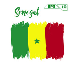 senegal flag brush strokes painted vector image
