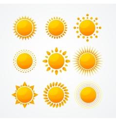 set glossy sun icon set vector image