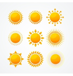 Set of glossy sun icon set vector image