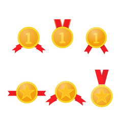 set of gold medals with red ribbons on a white vector image