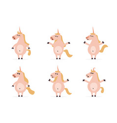 set of six cartoon unicorns in different poses vector image
