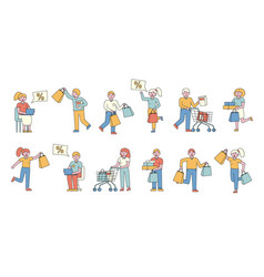 Shoppers flat line people character vector