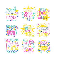 Short possitive messages colorful hand drawn vector