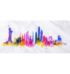 Silhouette overlay city New york vector
