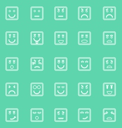 Square face line icons on green background vector image